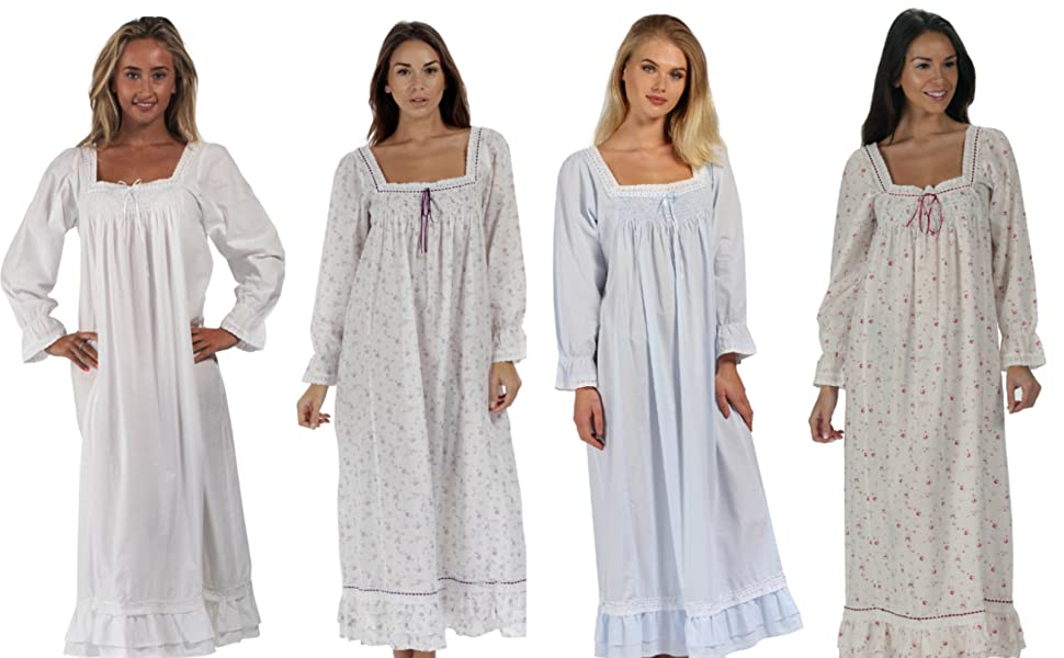 d8c104c81d A high quality 100% cotton long sleeve Victorian Style ladies nightdress.  Designed by Jacqui who lives in South Devon England.
