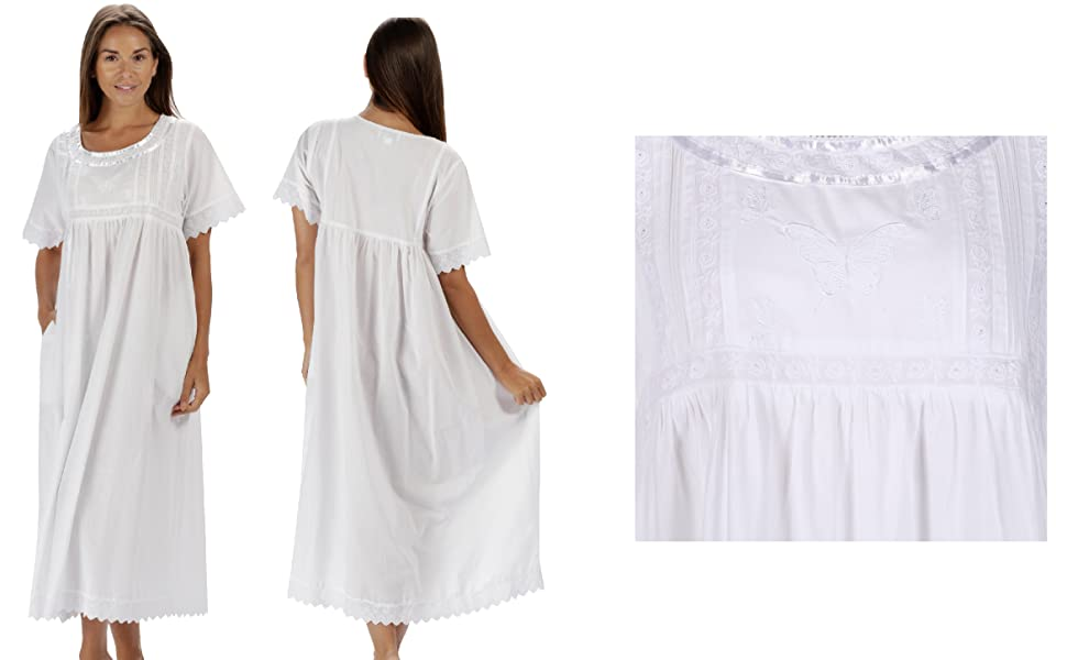 9a3f17d55e The 1 for U 100% Cotton Womens Nightdress with Pockets Victorian ...