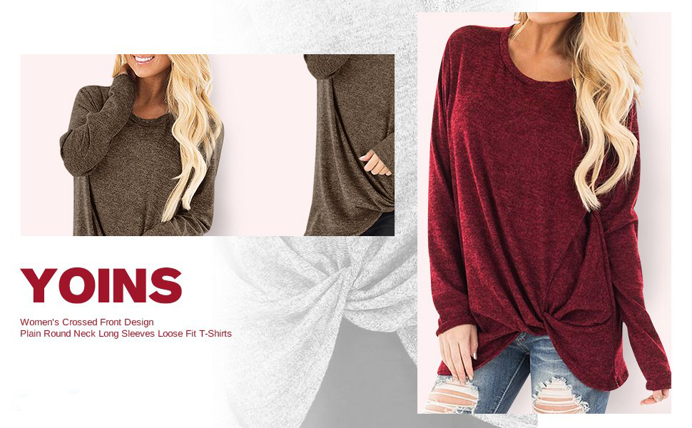 018ecd9fc4 YOINS Women s Plain Round Neck Long Sleeve Loose Fit T-Shirts With Crossed  Front Design Blouse Tops