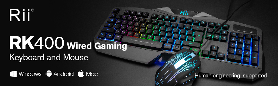 RK400 Rainbow LED Backlit Gaming Keyboard Mouse Combo Bundle UK Layout Black