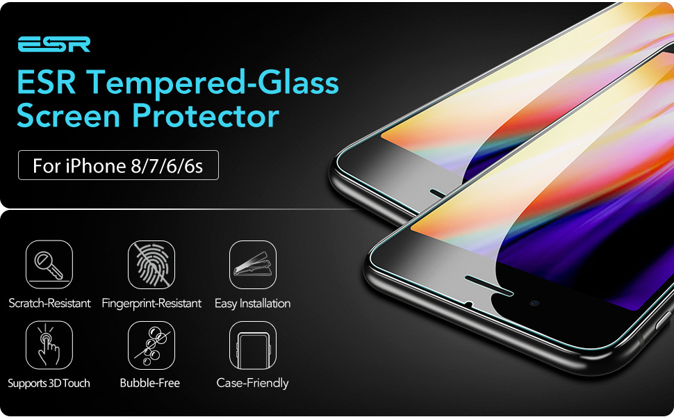 ESR Tempered Glass for iPhone 8 Screen Protector/iPhone 7 Screen  Protector/iPhone 6 iPhone 6s Screen Protector [2 pack] [Easy Installation  Frame],