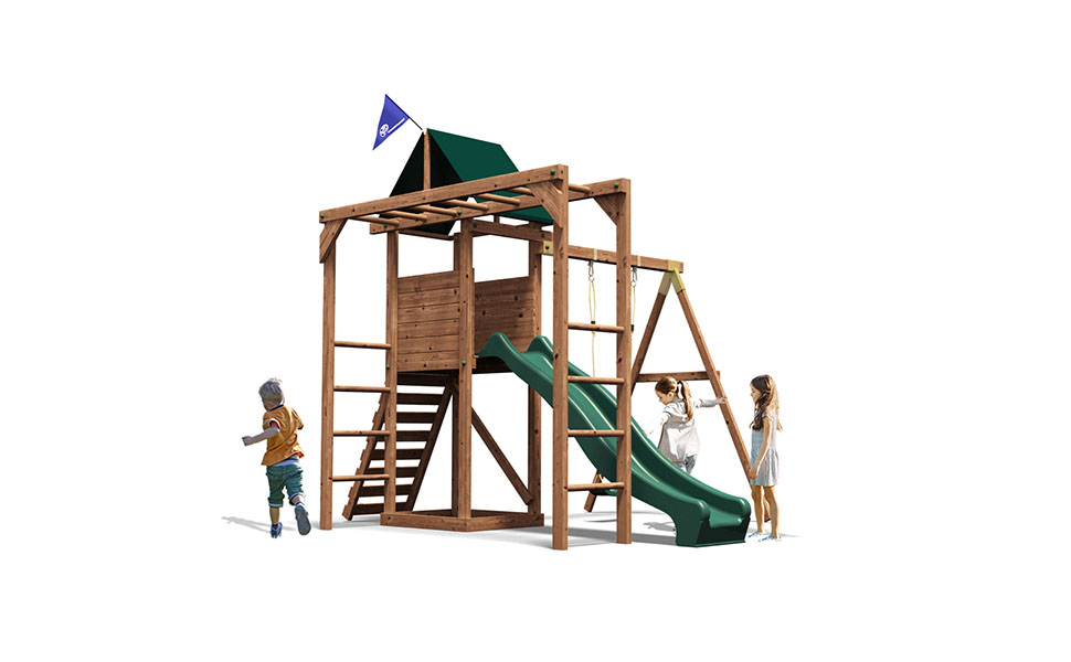 Dunster House Monkey Bars Climbing Frame Playhouse Wave Slide Swing ...