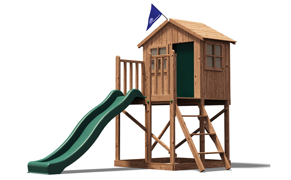 Playhouse Wave Slide Club House Kids Wooden Play Den - Lil LodgeTM ...