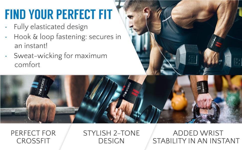 Weight lifting,strength training,Wrist Support-Elasticated Big Roys Wrist Wraps