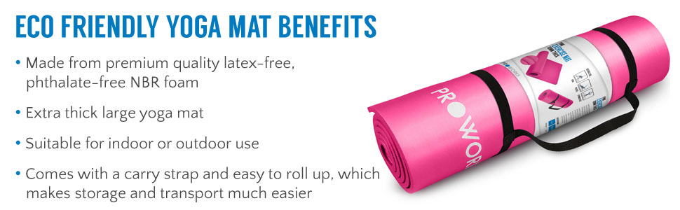 Large Padded Yoga Mat with Carry Handle