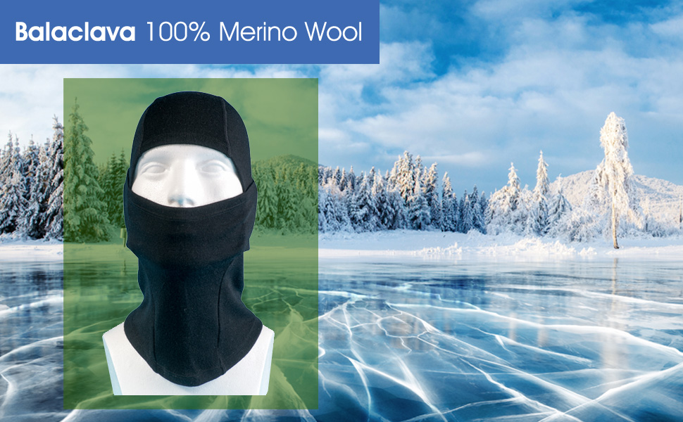3931069835e Merino Wool Balaclava Warm Thermal Face Mask - 100% Merino with ...