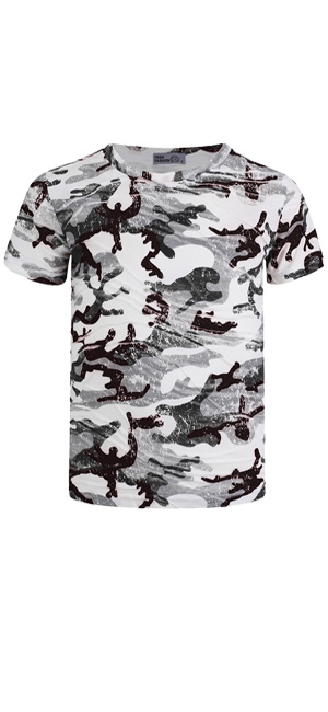 Kids Camo Dot Print Short Sleeve T-shirt Army Soldier Combat Military Top 3-14 Y