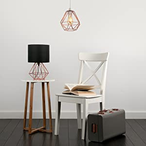 Modern Copper Metal Basket Cage Style Table Lamp With A Black