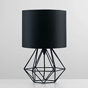 Modern Geometric Style Table Lamp Base In A Black Metal Finish, Complete  With A Black Fabric Shade.