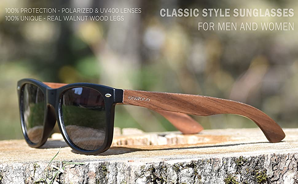 5840a8fc7d47 Walnut Wooden Mens and Womens Sunglasses with Matte Black Front and ...