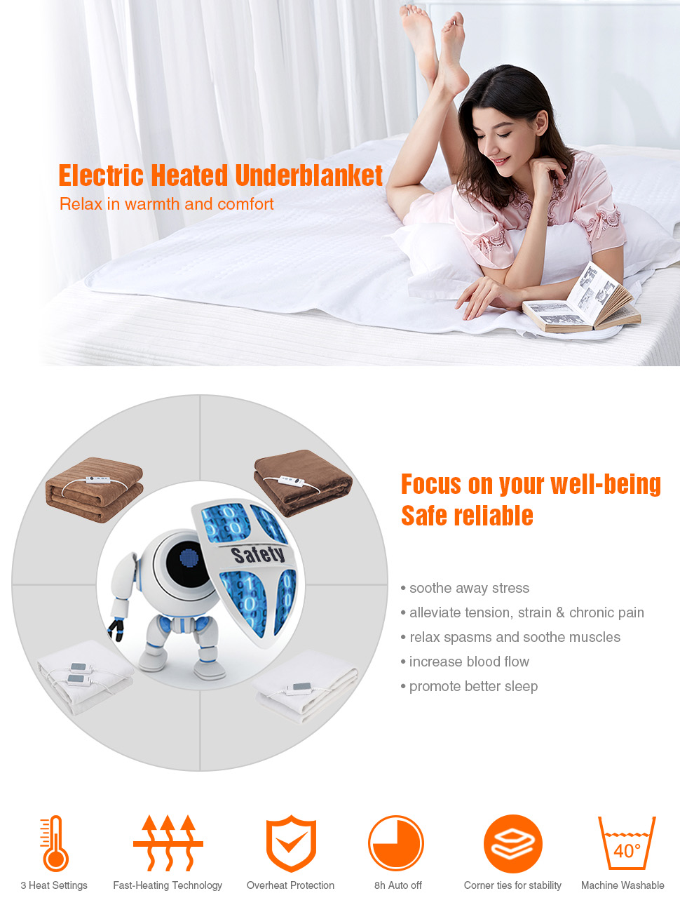Iguerburn Electric Heated Underblanket Single Size 60w 150 Blanket Wiring Diagram Besides Circuit Product Features Tired Of The Fact Your
