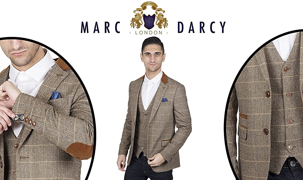 e2c45ee3e8b6 Mens Marc Darcy Designer Slim Fit DX7 Tan Tweed Herringbone Suit Jacket