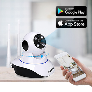 FLOUREON 1080P Indoor IP Camera 2 0MP WIFI H 264 Wireless PT Camera Baby  Monitor IR-CUT with Night Vision Motin Detection Two-way Voice TF Micro SD