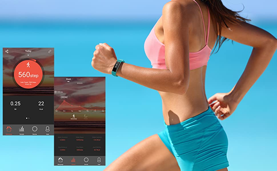 Fitness Tracker Activity Tracker Synced up With Veryfit Application, Tracks Steps, Sleep, etc