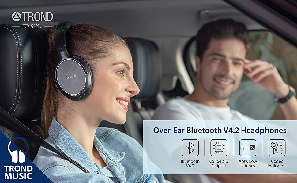 trond low latency wireless bluetooth headphones over around ear