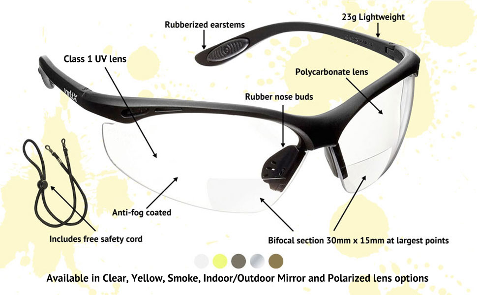 1fc80f3ff5 voltX  CONSTRUCTOR  BIFOCAL Reading Safety Glasses (CLEAR +1.0 ...