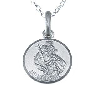 """Children's Small Reversible Sterling Silver St Christopher Necklace Pendant with 16"""" Chain & Jewelle"""