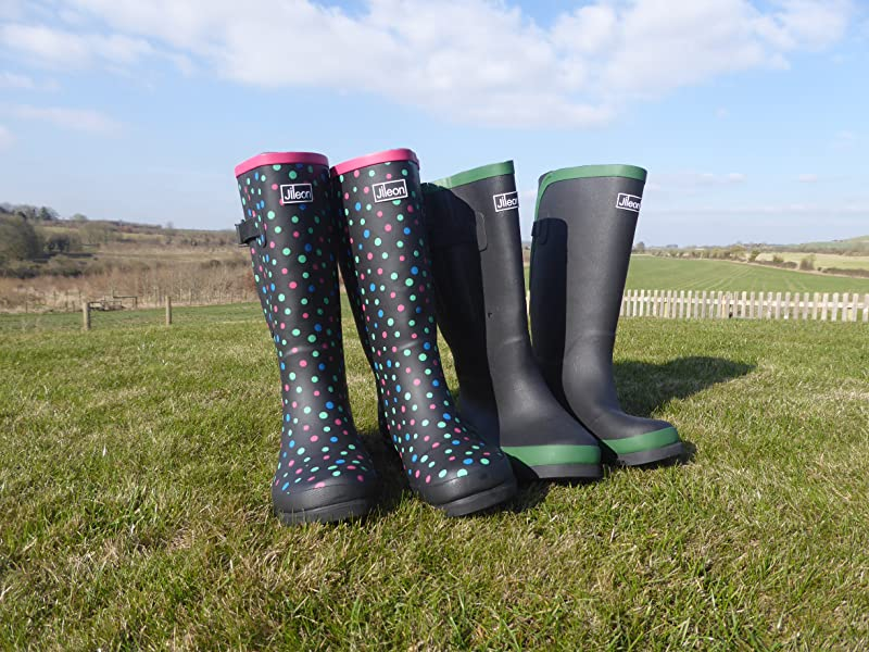 7bc8feb3aa93 Jileon Extra Wide Calf Rear Expansion Wellies up to 50cm - Wide in the Foot  and Ankle