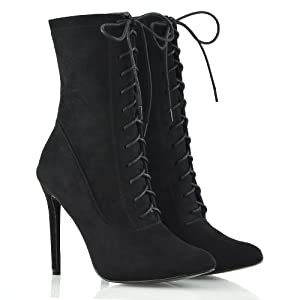 Womens Stiletto Ankle Boots Ladies Lace