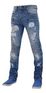 True Face Mens Denim Ripped Jeans