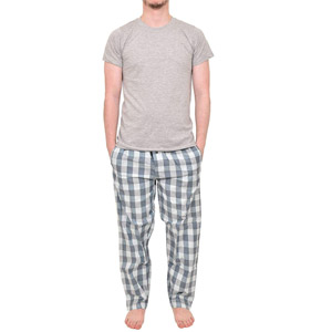 Mens Pyjamas Set Trousers Woven Check Lounge Pants Short Sleeve T Shirts Top