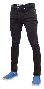 True Face Mens Biker Super Skinny Fit Jeans