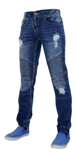 True Face Mens Ripped Stretch Jeans