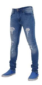 True Face Men Skinny Stretch Ripped Jeans