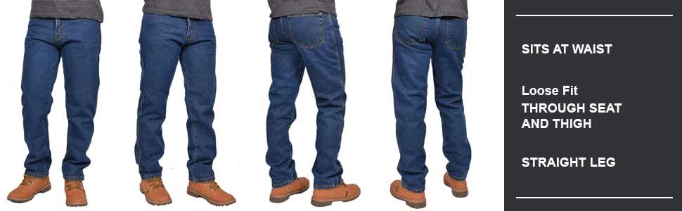 Mens Jeans Straight Leg Denim Pants Heavy Work Classic 5-Pocket