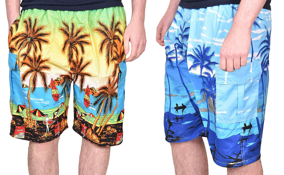 Mens Beach Shorts Black Palm Tree Shadow Side Split Swimming Trunks Adjustable Board Shorts
