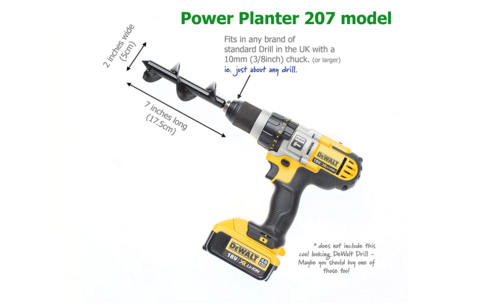 Power Planter 207 Model - Garden Soil Cultivator, Hand Drill Digger Auger -  Handcrafted In USA - 5cm Wide and 17 5cm Long - for Planting Seedlings and