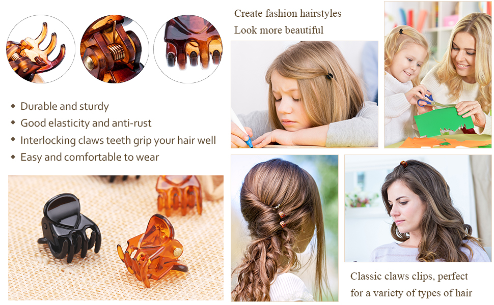 Mini Hair Clips Plastic Hair Claws Pins Clamps for Girls