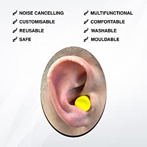 Close up of ear plugs in use