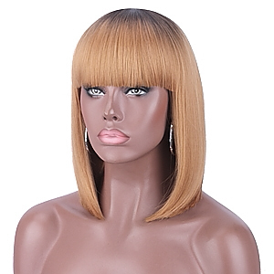 Kalyss Short Ombre Honey Blonde 2 Tones Black to Blonde