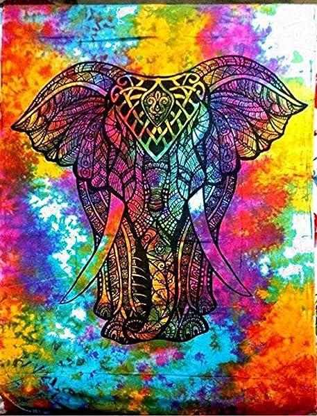Raajsee Indian Cotton Tapestry Elephant Mandala Wall