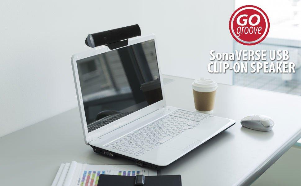 USB 2.0 Speaker Clip-On Laptop Stereo Soundbar with 2