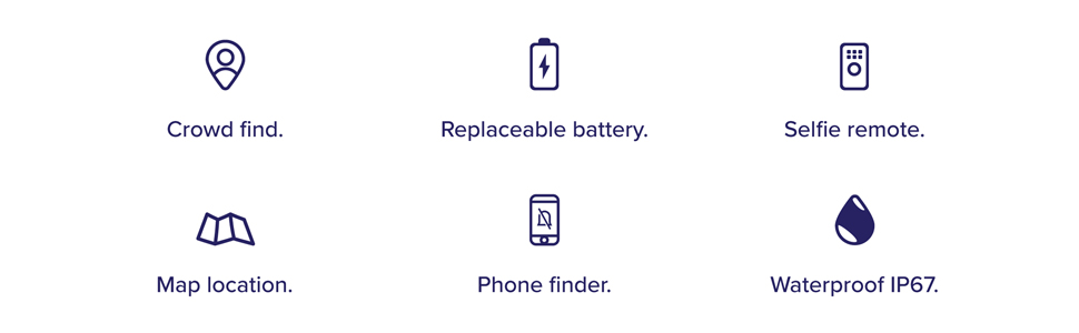 crowd find, replaceable battery, selfie remote, map location, phone finder, waterproof