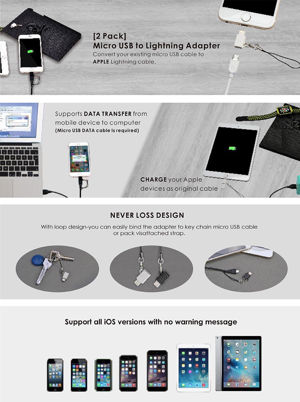 Avantree Lightning Adapter Converters 2 Pack Micro Usb Amazonco Loop September Powerbank Slim 80000mah To
