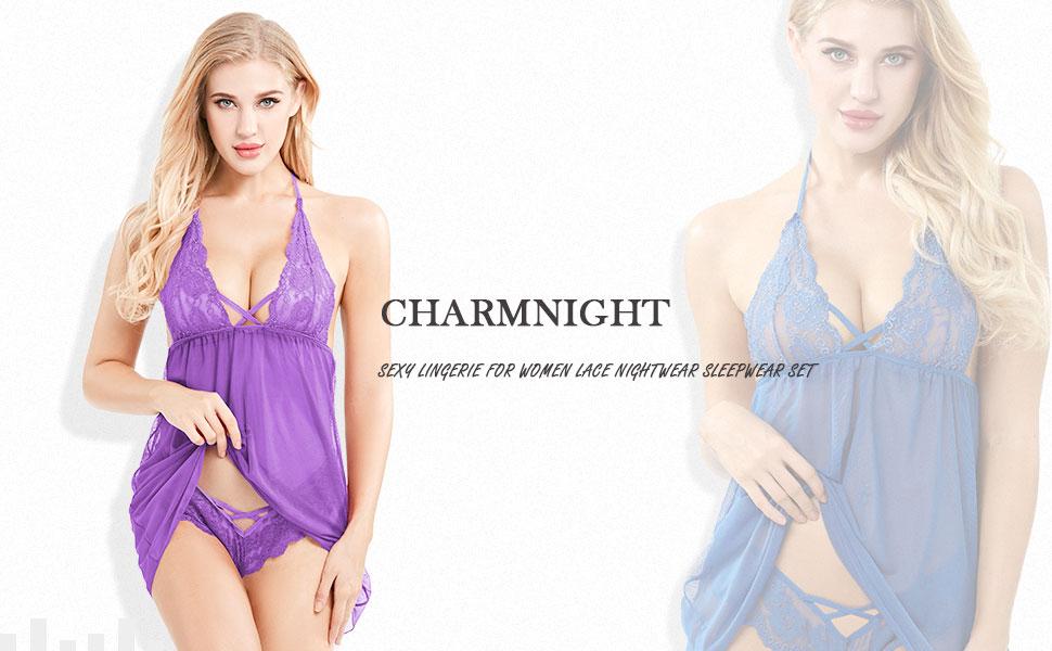 Charmnight Women s Bobydoll Sexy Lingerie Set Deep V-Neck Nightwear ... 9f4c217b1