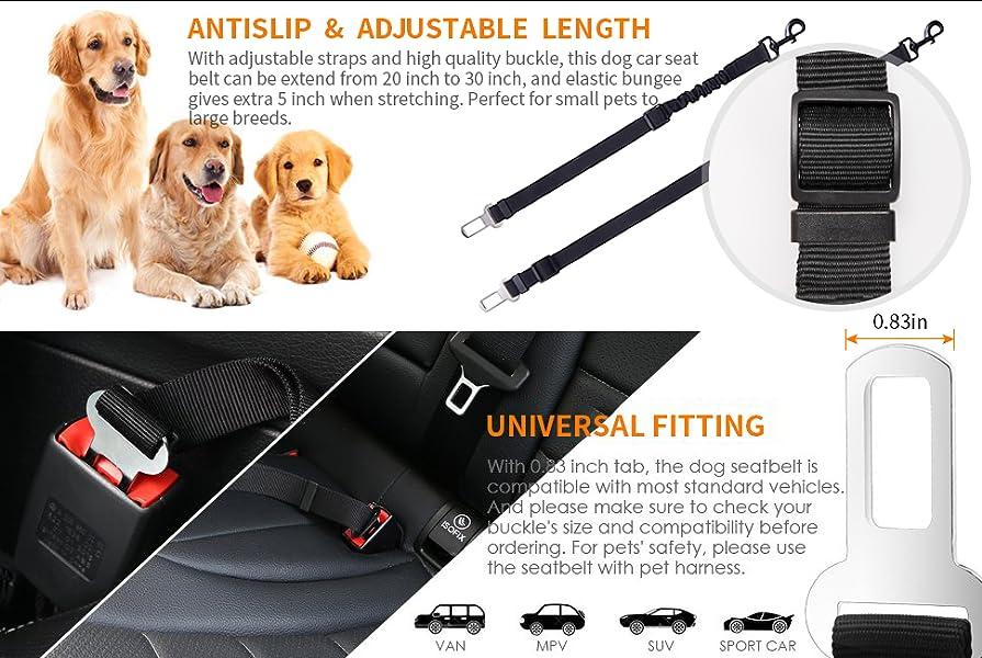 lanktoo Dog Seat Belt, Adjustable Pet Dog Car Seat Belt with Elastic