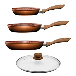 jml set of 3 copper stone frying pans non stick hard. Black Bedroom Furniture Sets. Home Design Ideas
