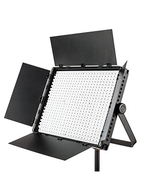 led lighting photography video panel with barn doors open on a light stand