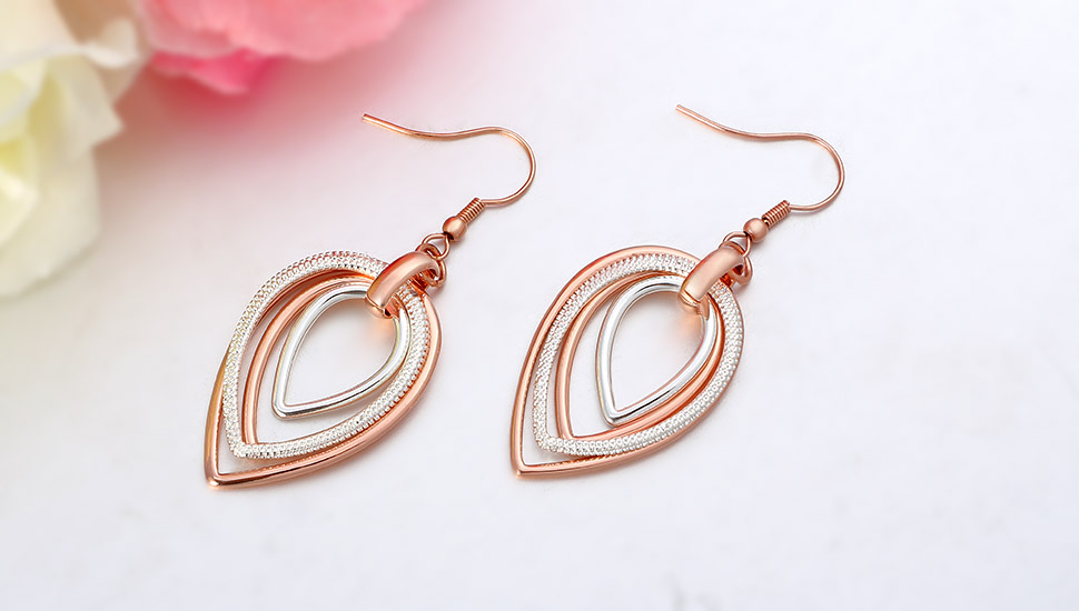 Kemstone Rose Gold and Silver Plated Two Tone Multi Loops Dangle Earrings Women's Jewelry hZeDdVKP5Q
