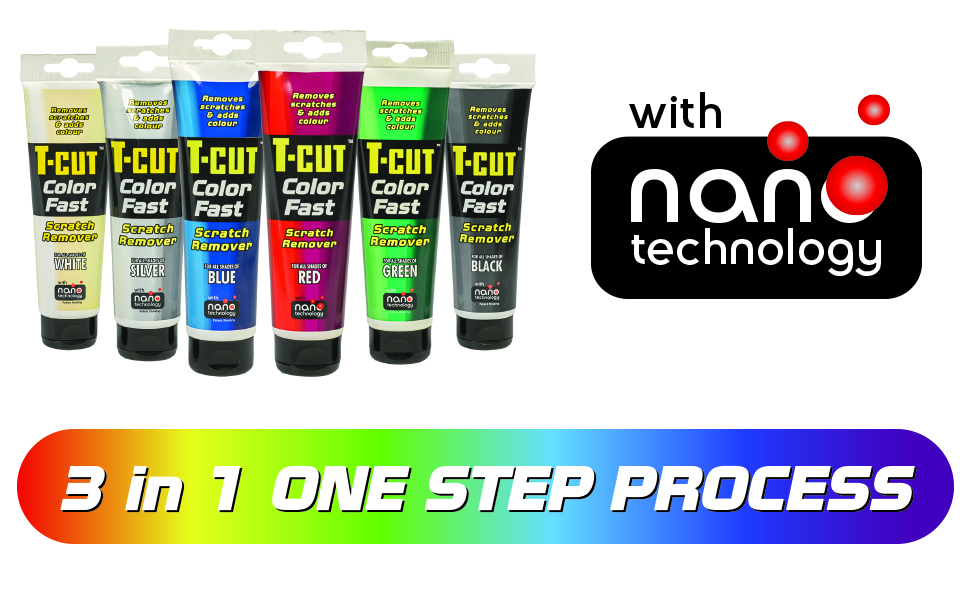 T-Cut Color Fast scratch remover product range and information.