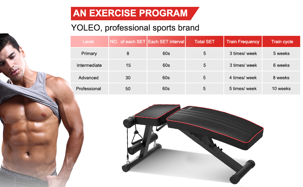 YOLEO Adjustable Weight Bench - Utility Weight Benches for Full Body  Workout, Foldable Incline/Decline Bench Press for Home Gym