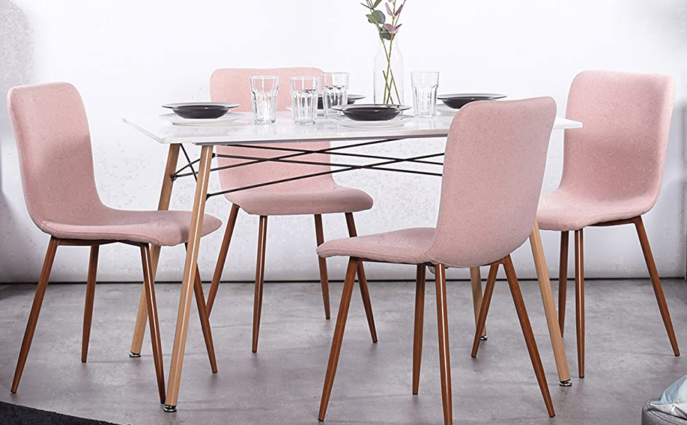 Coavas Dining Chairs Set Of 4 Fabric Cushion Kitchen Table Chairs With Sturdy Metal Legs Dining Room Set Living Room Set Pink Chairs