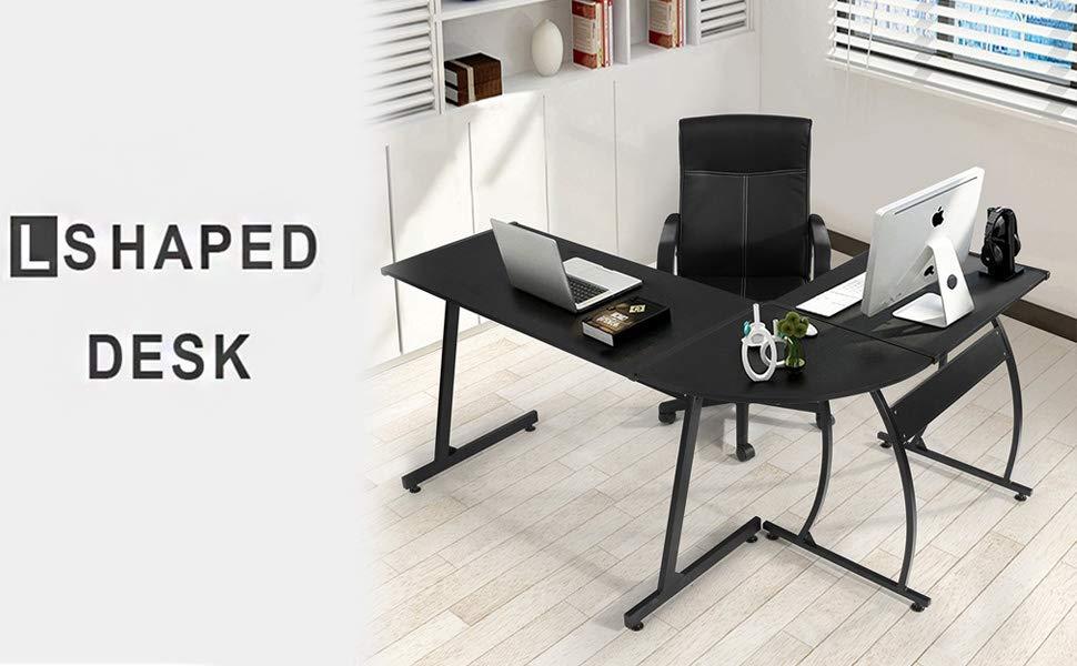 Home Office Furniture Uk Desk Set 18: Coavas Computer Office Desk L-Shaped Wood Corner Desk
