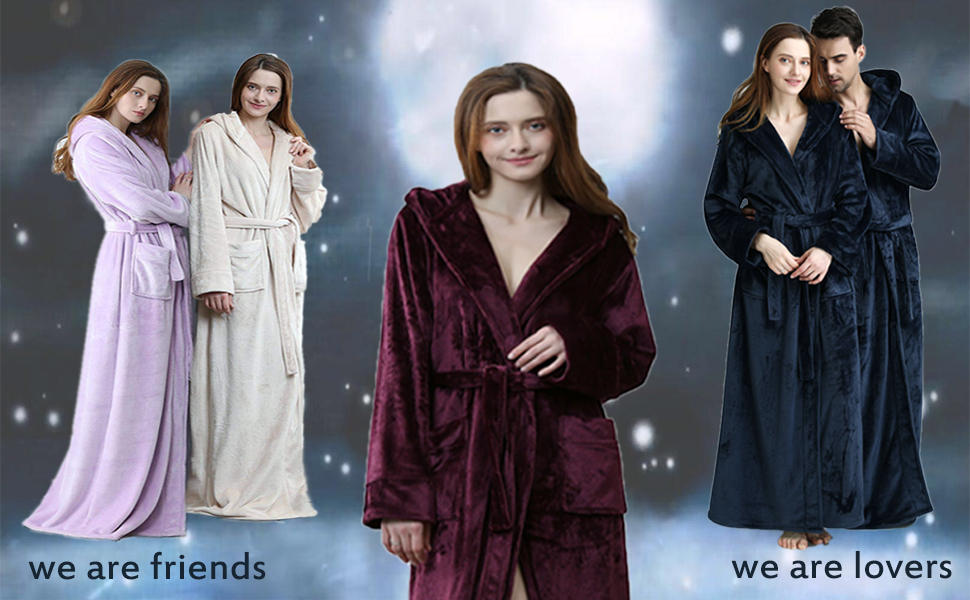 Women Winter Fleece Dressing Gown with Hood Fluffy Long Night Gown ... 4c747092b