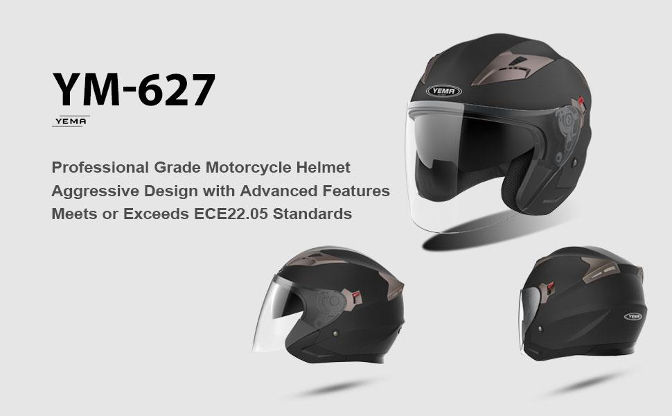 Motorbike Vespa Jet Helmet ECE YEMA YM-627 Open Face Crash Chopper Cruiser Half Poilt Bobber Motorcycle Helmet with Sun Visor for Adult Men Women White,XL