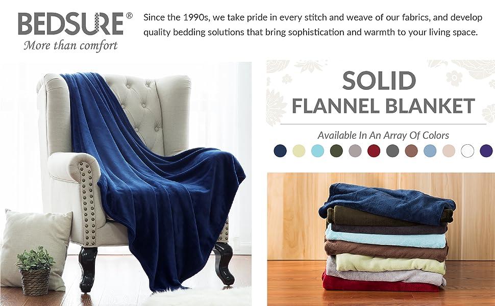 Bedsure Flannel Fleece Throw Blankets Navy Blue Travel